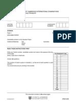 Cambridge Primary Checkpoint Science P1 Specimen 2012