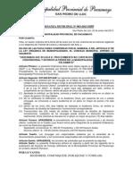 Ordenanza Municipal - 00003-2013 - Regula El Procedimiento No Contencioso de SeparaciOn Convencional y Divorcio Ulterior MPP
