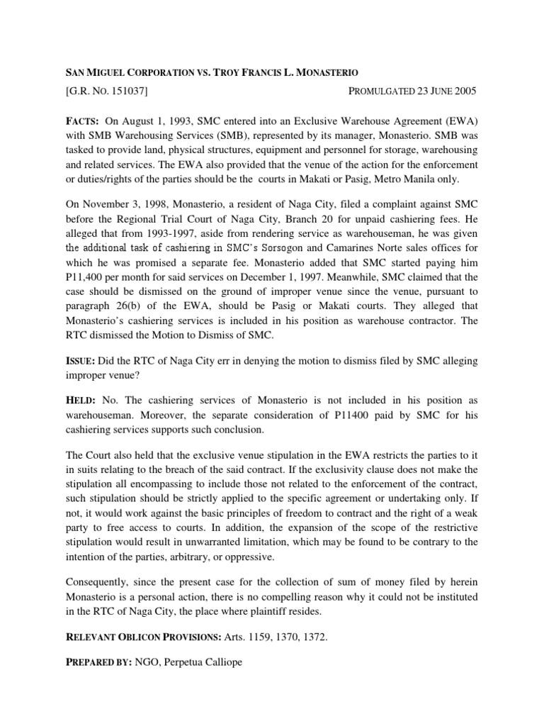 San Miguel Corporation V Monasterio Ngo And Tero Lawsuit