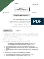 Sujet EF2 Maths épreuve facultative BTS