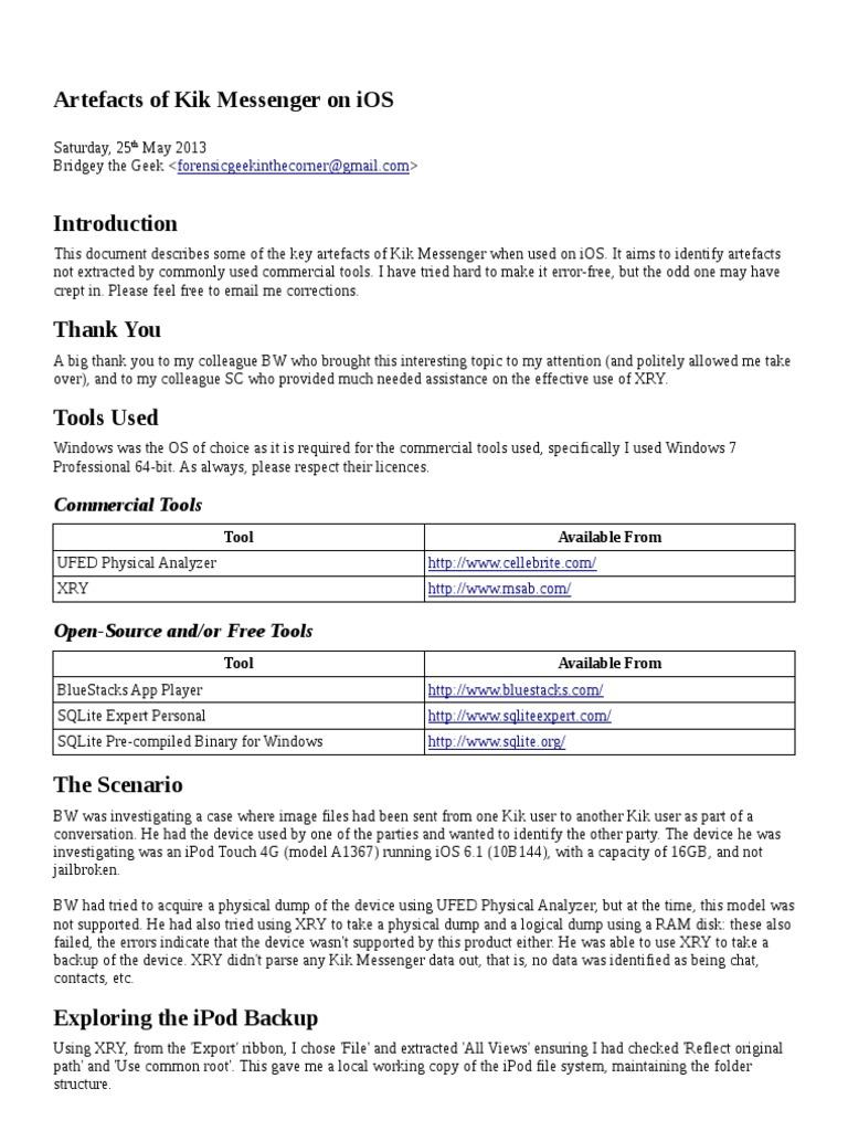 Artefacts of Kik Messenger on iOS | Computer File | Ios