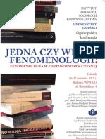 Plakat ogólnopolskiej konferencji naukowej Jedna czy wiele fenomenologii