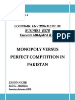Monopoly versus Perfect Compitition in Pakistan