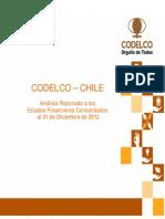 Analisis de Estado Financiero de 31-2012 Codelco