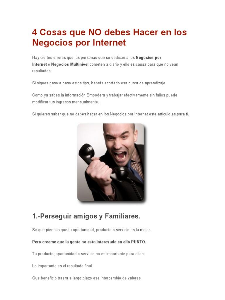 4 Cosas Que No Debes Hacer En Los Negocios Por Internet