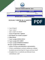 PROVA DE METODOLOGIA DO TRABALHO CIENTIFICO EM  SERVIÇO SOCIAL S-6
