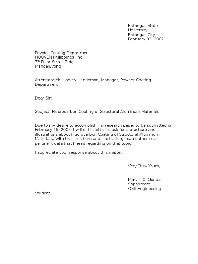 Example Letter of Inquiry – Format of Letter of Inquiry