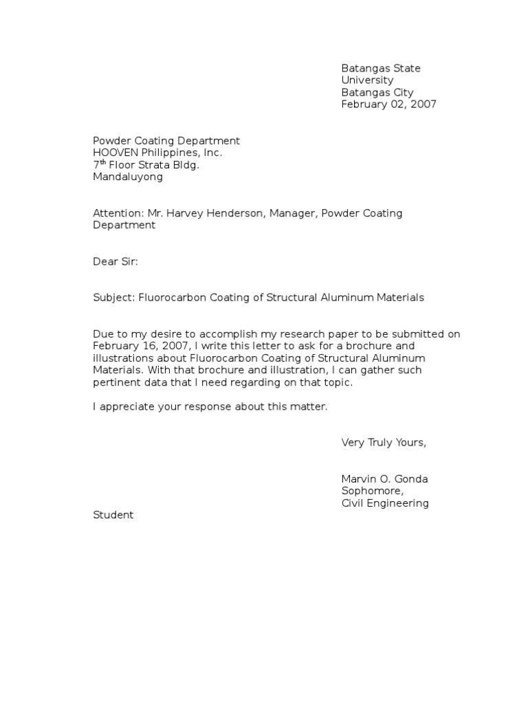 inquiry letter sample Cerescoffeeco