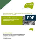 Víctor J. Elviro. Lean Management y Optimización de los Procesos de Mantenimiento. El TPM.