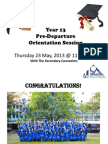 Year 13 Pre-Departure Orientation Session 2013