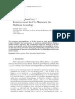 Ben-Smit (2010) Remarks About 5 Women in Matt Genealogy