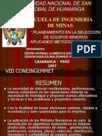Planeamiento en Seleccion de Equipos Mineros Aplicando Metodos Numericos