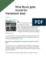 Aditya Birla Nuvo Gets CCI Approval for Pantaloon Deal