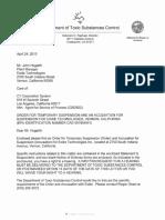 DTSC's Suspension Order for Exide Technologies