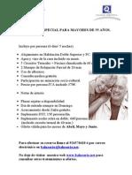 PROGRAMA ESPECIAL PARA MAYORES DE 55 AÑOS