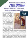 Comunità Pastorale di Uggiate e Ronago Agenda della Settimana Corpus Domini