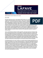 Rod LaFave for City Council Letter of Intent