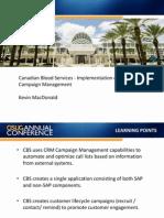 0106 Canadian Blood Services - Implementation of SAP CRM Campaign Management