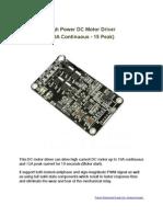 10A DC Motor Driver Manual