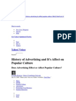 History of Advertising and It's Affect on Popular Culture