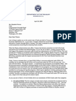 Letter to Elizabeth Warren, Chair of the Bailout Ovesight Committee from Treasury Secretary Geithner