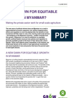 A New Dawn for Equitable Growth in Myanmar? Making the private sector work for small-scale agriculture