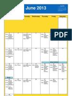 June 2013 Oakmont United Methodists Calendar