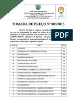 TOMADA DE PREÇO Nº 003