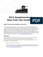 Small Business Coalition Candidate Questionnaire 2013[1]