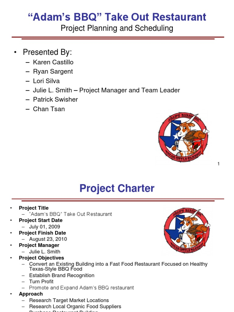 project charter for restaurant