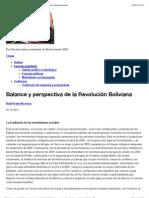 Balance y perspectiva de la Revolucio¦ün Boliviana Contexto Latinoamericano