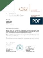 Surat Peminjaman Gereja Cengkareng Untuk PAG Wil XV Tgl 25 Aprl 2009