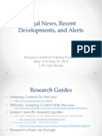 Research Assistant Training - Legal News, Recent Developments, And Alerts