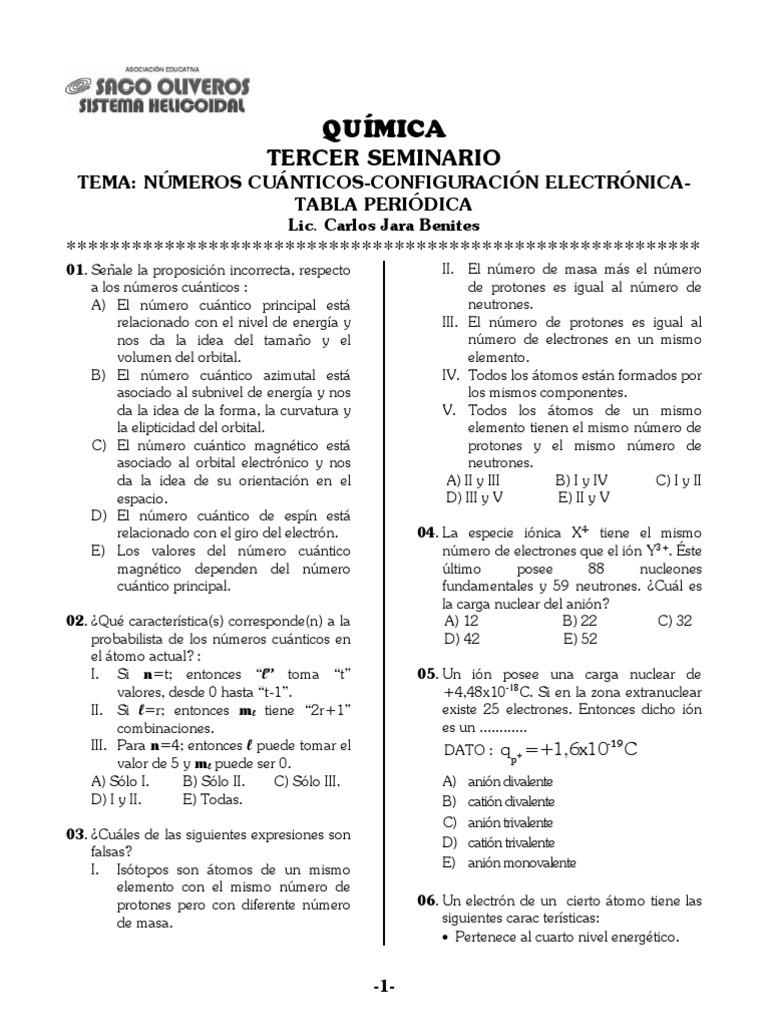 Configuracion electronica numeros cuanticos y tabla periodica urtaz Images