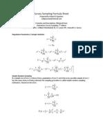 Survey Sampling Formula Sheet