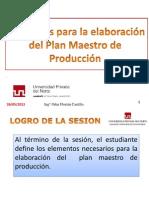 Elementos para la elaboración del plan  maestro de producción