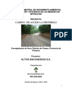 ALTOS ESCONDIDOS SA ROAD CONSTRCUTION REPORT