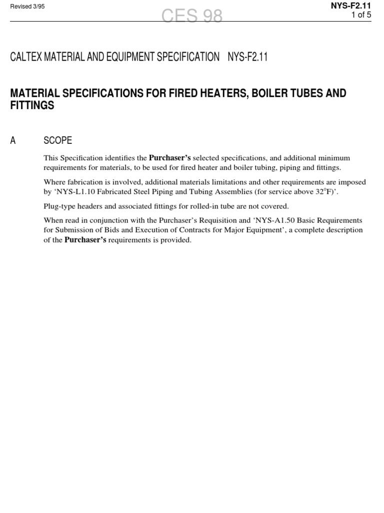 NYSF211_MATERIAL SPECIFICATIONS FOR FIRED HEATERS, BOILER TUBES AND ...
