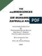 The Reminiscences of Sir Muhammad Zafrulla Khan