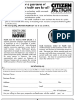 Health Care for America Now and Small Business United for Health Care Dual Organizational Sign-on Form