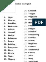 Grade 3 Spelling List