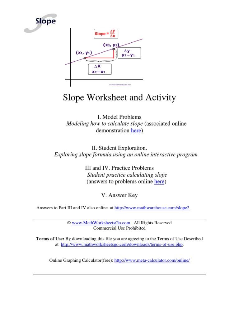 slopeofalineworksheetpdf Slope – Slope Problems Worksheet