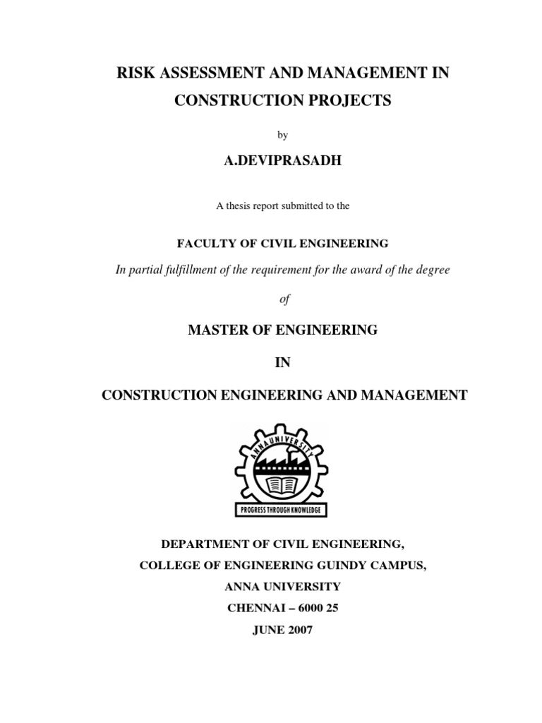 risk assessment and management in construction projects thesis