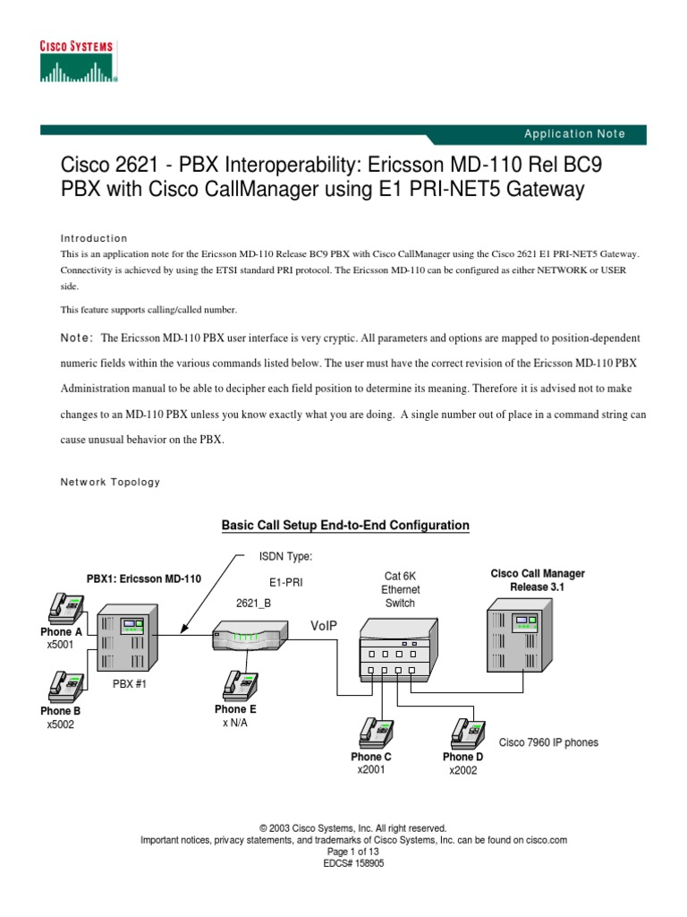 cisco 2621 pbx interoperability ericsson md110 rel bc9 pbx with rh scribd com ericsson md110 pbx administration manual Telecom Operators