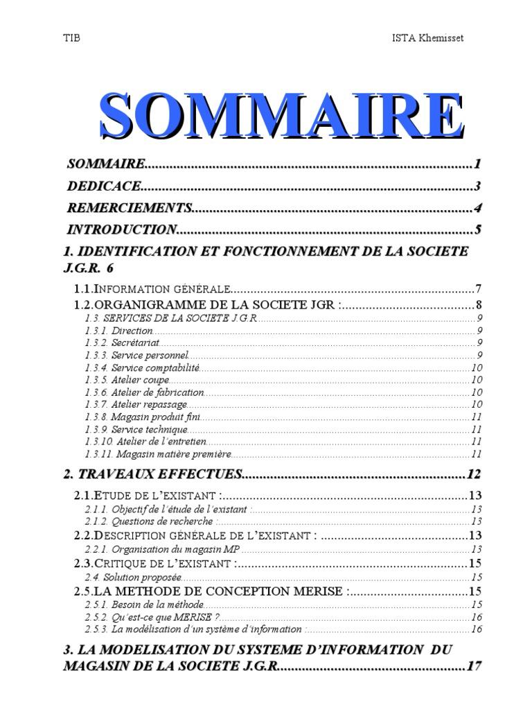 Rapport de stage societer de confection - Rapport de stage 3eme cabinet medical ...