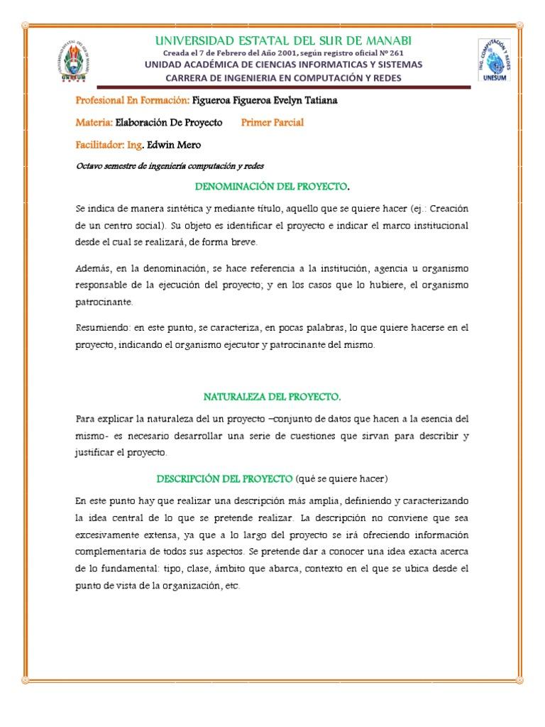 Elaboracion De Proyectodocx