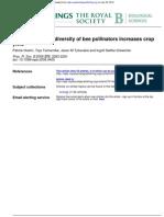 Functional group diversity of bee pollinators increases crop yield.