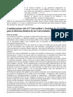 Consideraciones Del GT Universidad y Sociedad de CLACSO Para La Reforma Radical de Las Universidades