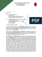 NMMI to Alumni Association letter