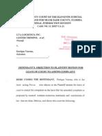 26. LTA LOGISTICS v Enrique Varona (Defendants Opposition to Motion to Amend Complaint)